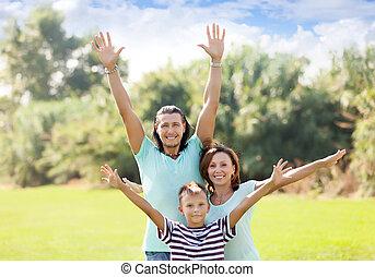 portrait, famille, trois, heureux