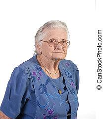 portrait, femme aînée, citoyen