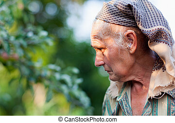 portrait, femme aînée, closeup