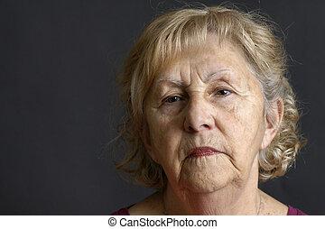 portrait, femme aînée, noir