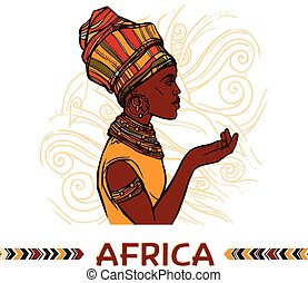 portrait, femme, africaine
