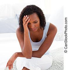 portrait, femme afro-américaine, désordre