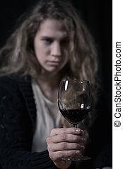 portrait, femme, alcoolique