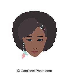 portrait, femme américaine, africaine