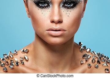 portrait, femme, artistique, maquillage