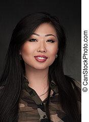 portrait, femme, asiatique