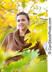 portrait, femme, automne