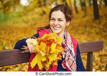 portrait, femme, automne, jeune, beau, parc
