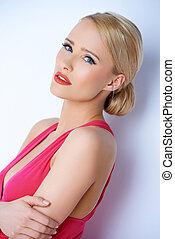 portrait, femme, blonds, sexy