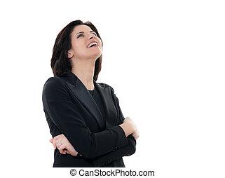 portrait femme, caucasien, beau, rire