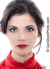 portrait femme, caucasien, sérieux, beau