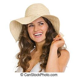 portrait, femme, chapeau, jeune, heureux