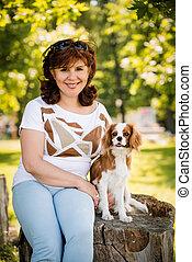 portrait, femme, chien