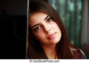 portrait, femme, closeup, séduisant