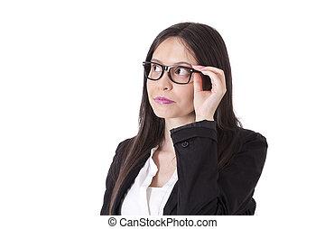 portrait, femme, court, business