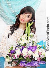 portrait, femme, fleurs