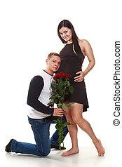 portrait, femme, heureux, mari, pregnant