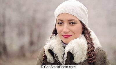 portrait, femme, hiver