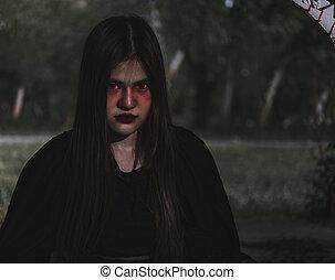 portrait femme, horreur, fantôme