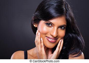 portrait, femme, indien, beau