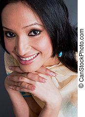 portrait, femme, indien