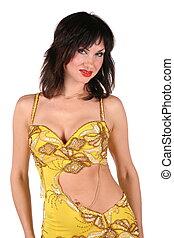 portrait, femme, jaune, bellydance
