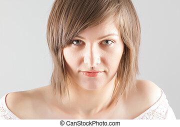 portrait, femme, jeune