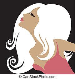 portrait, femme, longs cheveux
