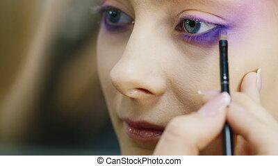 portrait, femme, maquillage