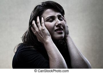 portrait, femme, noir, pleurer