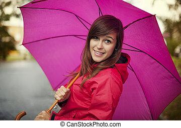 portrait, femme, parapluie, jeune