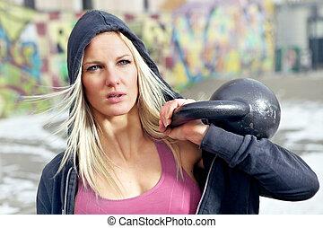 portrait, femme, poids, fitness