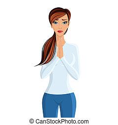 portrait, femme prier