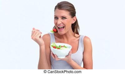 portrait, femme, salade