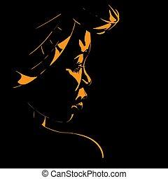 portrait, femme, silhouette, rétroéclairage, africaine