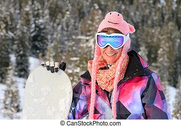 portrait, femme, snowboard