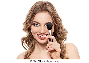 portrait, femme souriante, isolé, brosse