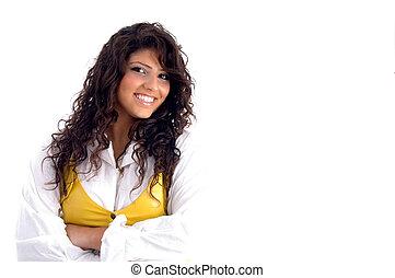 portrait, femme souriante, jeune