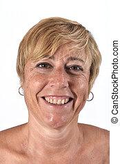 portrait femme, vieilli, milieu