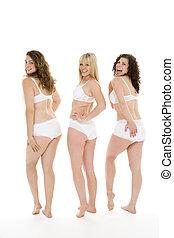 portrait femmes, leur, sous-vêtements