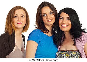 portrait, femmes, trois, beau