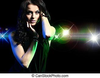 portrait, fille partie, danser disco