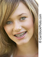portrait, fille souriant