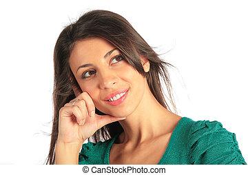 portrait, fille souriante, beauté