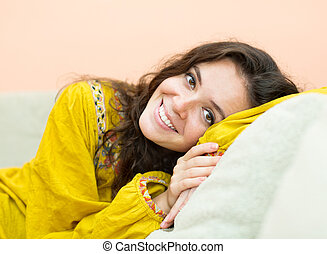 portrait, fille souriante