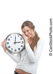 portrait, fille souriante, tenue, horloge