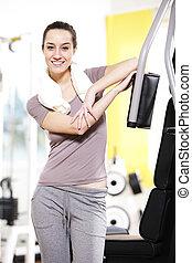 portrait:, fit., fitness, jeune, femme, reste