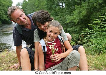portrait, forêt, famille