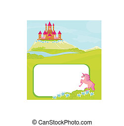 Portrait frame with fairy tale castle and beautiful country...