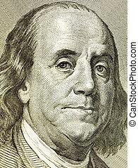 franklin - Portrait franklin from a denomination in 100 ...